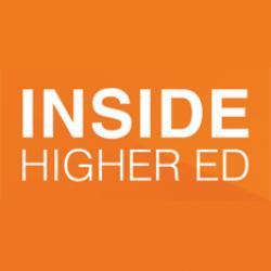 Inside Higher Ed website logo, white lettering on orange background