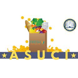 Drawing of a grocery bag with FRESH Basic Needs Hub logo, filled with food and surrounded by falling coins, with ASUCI banner below the bag and Associated Students Senate logo to the right