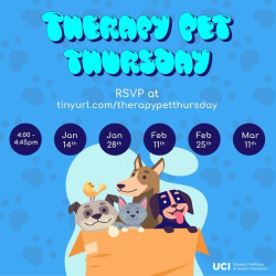 Event advertisement with fall dates, RSVP URL and cartoon pets