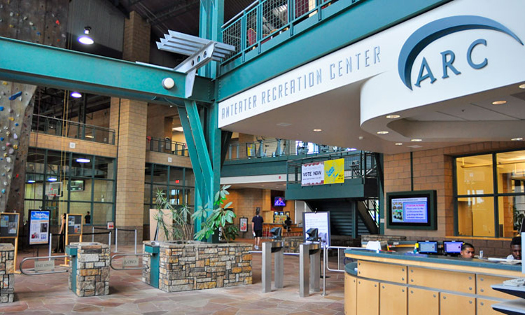 UCI Campus Recreation Center front desk and turnstyles